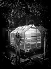 My Greenhouse! (Missy Jussy) Tags: greenhouseproject mygarden garden structures building fence light shadow darkness evening mono monochrome blackwhite bw blackandwhite nighttime tired wet weary cold outdoor outside happiness girl women female me justinestuttard missyjussy brush
