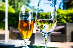 Beer at river bank (Maria Eklind) Tags: dof food glas reflection spegling city stockholm glasses beer sweden depthoffield hägersten stockholmslän sverige