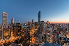 A sunset view from the Club 52 terrace at Optima Signature (YoChicago) Tags: chicago yochicago highrise apartments streeterville davidhovey views optimasignature nearnorthside skyline night