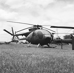 OH-6 (MFBodisch) Tags: oh6 cayuse observation helicopter viet nam war aircraft camp shelby mississippi armed forces museum rolleicord va kodak tx 400 yellow filter