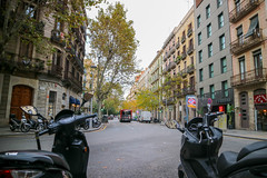 Barcelona (rebeccahspear) Tags: scooter vehicle bus windows door canon city cityscape evening travel buildings building break m3 mirrorless heritage house shop foliage design details sky street spain architecture world europe perspective medieval people tree tour outdoor old transport barcelona 2018
