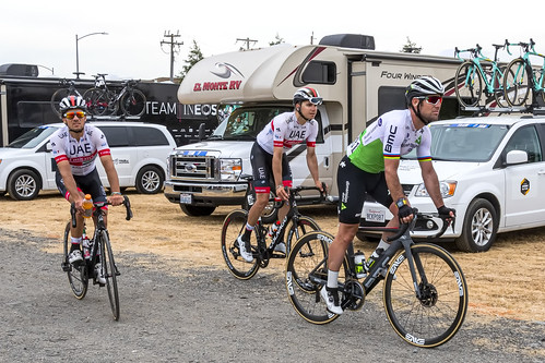 (L-R) Roberto Ferrari, Rui Oliveira and Mark Cavendish after the finish of Stage 3 in  Morgan Hill