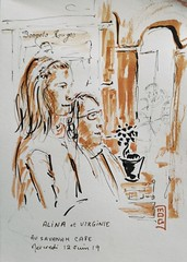 au café le savanah à ploemeur. alina et virginie (mog gom) Tags: café bar ploemeur personnage croquis dessin sketch zeichnen