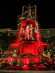 Tyler Davidson Fountain at Fountain Square at Night - Cincinnati OH (mbell1975) Tags: red cincinnati ohio unitedstatesofamerica fountain square night oh us usa america lights sq platz place piazza park water waterfountain sculpture statue city tyler davidson