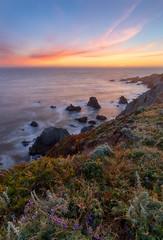 Bodega Head Orange Sunset (optimalfocusphotography) Tags: usa landscape seastacks nature water sea northerncalifornia sonomacounty beach ocean california sky sunset flowers coast clouds waves
