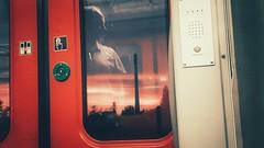 *please mind the gap between the train and the platform* (kestercrosberger) Tags: sun sunset sunshine horizon dusk late clouds orange summer train wagon transportation infrastructure ruhrgebiet passenger mirror reflection man evening phone