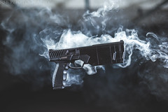 Maxim9 (Ryan S Burkett | RSB Photography) Tags: firearms firearm gun gunsdaily weaponsdaily weapon blaster nikon canon quasar lighting rsbphotography truthcanbebought floating suspended smoke suppressor suppressed quiet hush haze dof depth silencer silencerco maxim 9 vape