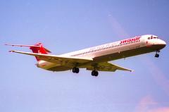 Swissair MD-81; HB-IND@ ZRH;28.05.1995 (Aero Icarus) Tags: zrh zürichkloten zürichflughafen zurichairport lszh plane avion aircraft flugzeug negativescan