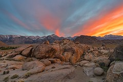 sunset in the Alabama Hills (Luc Mena Photography) Tags: ca usa sunset alabama hills california eastern sierra outdoors nature landscape clouds cloudscape colorful dusk sky mt whitney mountains mountain range boulders rocks alone scenic