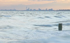 Portsmouth from East Wittering (Williams5603) Tags: longexposure sunset sea westsussex harbour portsmouth witterings eastwittering waves d5100 hampshire skyline skyscraper