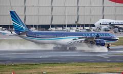 4K-AZ86 - Airbus A340-542 - LHR (Seán Noel O'Connell) Tags: azerbaijanairlines azal 4kaz86 airbus a340542 a340 a345 heathrowairport heathrow lhr egll 27l j27 ahy7 gyd ubbb aviation avgeek aviationphotography planespotting
