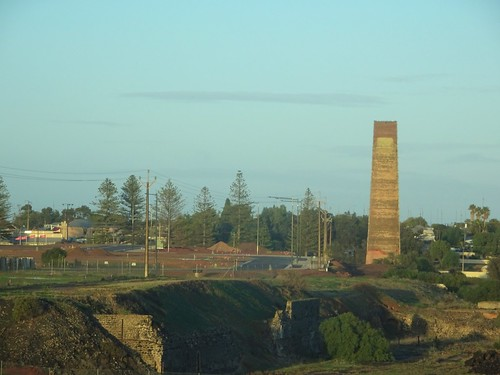 Wallaroo..The Hughes smelter chimney withthe remnants of furnaces below built into  the bank. In its heyday in the 1860s theer were thirteen smelter chimneys at Wallaroo