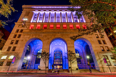Pittsburgh City-County Building - Red, White, and Blue (Tony Webster) Tags: alleghenycounty cityofpittsburgh citycountybuilding flagday pennsylvania pittsburgh architecture building downtown lighting lights longexposure night redwhiteandblue unitedstatesofamerica