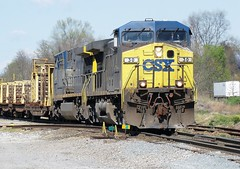 CSX GE CW44AC locomotive # 30 along with locomotive # 484, leads a southbound manifest freight train into the north end of the yard Erwin, Tennessee, 4-15-2008 (alcomike43) Tags: csx erwintennessee clinchfieldrailroad railroads trains freighttrains manifestfreighttrains mow railcarryingflatcars freightcars tracks rails jointedsectionrail ballast roadbed ties rightofway scenic countyrside mountains jointedsectionrails tieplates spikes anglebars mainline photo photograph color digitalimage