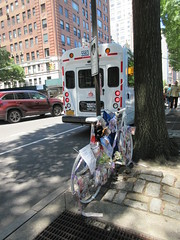 2019 Ghost Bike on Central Park West NYC 1781 (Brechtbug) Tags: 2019 ghost bike death central park west green light pole tribute bicycle accident victim sidewalks flowers stickers note pavement new york city nyc memorial rip wings street art memorials mark sites of victims who were killed in traffic june 06152019 uptown side manhattan