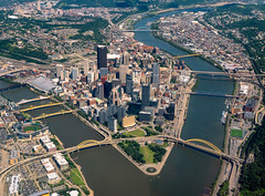 Skyline of Pittsburgh, Pennsylvania (Tony Webster) Tags: alleghenyriver dl1933 fortduquesne monriver monongahelariver ohioriver pennsylvania pittsburgh pointstatepark themon aerial aerialphoto aerialphotograph bridges confluence downtown photo rivers skyscrapers threerivers unitedstatesofamerica