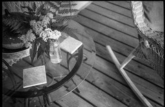 arrangement, MM's front porch, cabin, Lakey Gap Heights, Black Mountain, NC, Olympus XA, Foma Retropan 320, HC-110 developer, 6.10.19 (steve aimone) Tags: arrangement porch rocker tabletop cabin lakeygapheights blackmountain northcarolina olympusxa fomaretropan320 35mm 35mmfilm film blackandwhite monochrome monochromatic
