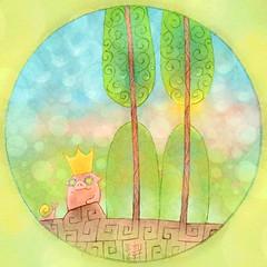 Forest Monarch (hinxlinx) Tags: dailyart illustration pendrawing childrenbookart animalart creatureart mammal forest pig snail tree lin hinxlinx ericlynxlin elynx 軒 instaart artifinstagram