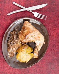 Chicken, potato and morels (annick vanderschelden) Tags: chicken oven baked red food dinner lunch energy flavor dish belgium sauce cream plate meat potato served sherry taste culinary protein calories lighteffect browned morels readytoeat