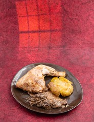 Chicken, potato and morels (annick vanderschelden) Tags: oven baked chicken meat sauce browned potato cream morels red sherry plate served readytoeat lighteffect food dish dinner lunch culinary protein calories energy flavor taste belgium
