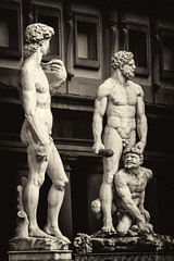 """""""Don't just stand there do something........... (odell_rd) Tags: florence piazzadellasignoria david herculesandcacus statues bw silverefex"""