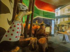Protecting Ducks (Steve Taylor (Photography)) Tags: elephant placard aframe flag southafrica helmet cape hippo bird animal billboard sculpture carving shop colourful wood uk gb england greatbritain unitedkingdom london sign