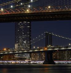 Two Bridges - Final Version (HappyHubris) Tags: new york brooklyn bridge night a6400 sel50f18