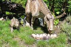 Maiasaura With Young (edenpictures) Tags: dinosaur dinosaursafari prehistoric extinct model reconstruction bronx zoo bronxzoo nest eggs mother maternal newyorkcity nyc