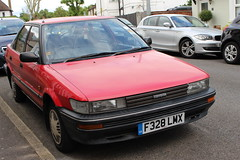 1989 Toyota Corolla,1 (doojohn701) Tags: red reflection vintage retro classic car japanese faded shadow 1989 toyota corolla uk