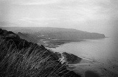 You will never find a more wretched hive of scum and villainy... (Mano Green) Tags: robin hoods bay scarborough cliffs sea water coast haze cloud sky sun grass east england yorkshire uk summer september 2016 canon eos 300 40mm lens ilford hp5 400 35mm film ilfosol s epson perfection v550 black white landscape seascape coastal walk hike