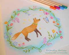 Floral Fox Illustration (FriendlyHollow) Tags: fox animal woodland forest floral flowers spring summer coloredpencil drawing sketch illustration art cutefox butterfly wreathdesign naturedrawing