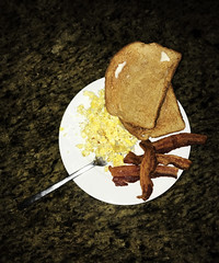 Classic, American (Chandler.W) Tags: breakfast american america bacon eggs toast bread food butter meal fork color art