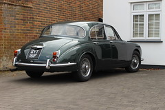 1968 Jaguar 340 (doojohn701) Tags: british green reflection vintage retro classic car historic wall house windows pvc driveway 1960s sidcup uk
