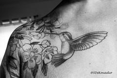 Cherry Blossoms & Hummingbird Tattoo (B&W) (Stephenie DeKouadio) Tags: canon photography art artistic artwork tattoo tattoos ink cherryblossomtattoo hummingbird blackandwhite monochrome bw cherryblossoms cherryblossom woman shoulder arm chest selfportrait portrait portraitphotography