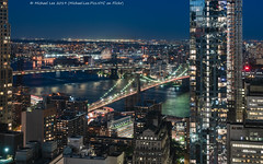 Two Bridges (20190614-DSC09420-Edit-2) (Michael.Lee.Pics.NYC) Tags: newyork brooklyn aerial hotelview millenniumhilton brooklynbridge manhattanbridge eastriver fdrdrive night longexposure lighttrail architecture cityscape sony a7rm2 fe24105mmf4g