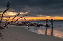Point Nepean sunset (Sean Greenland) Tags: pier jetty sunset exposure longexposure water sun ocean beach nature natureshot natural cloud shadows light lightshow sand sea flow movement nikon nisi nisifilter nd sunlight glare