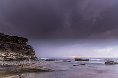 Overcast and Drizzly Rocky Seascape (Merrillie) Tags: daybreak theskillion morning clouds nature australia terrigal cloudy overcast sunrise weather newsouthwales rocks earlymorning nsw sea rocky ocean coast landscape dawn coastal waterscape outdoors seascape waves centralcoast water sky