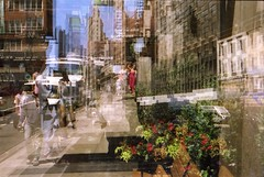 Woman in Red (Meredith Jacobson Marciano) Tags: 5thave midtown doubleexposure cinestill