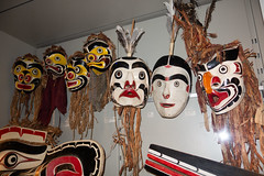 Collection of B.C. native masks (quinet) Tags: 2017 aborigène britishcolumbia canada firstnations kunst museumofanthropology schnitzerei ubc ureinwohner vancouver westcoast aboriginal art carving indian museum musée native northwest sculpture