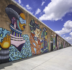 Art Wall Houston (Mabry Campbell) Tags: 6thward artwallhou harriscounty houston sixthward texas usa colorful image painting photo photograph wall wallart f63 mabrycampbell june 2019 june42019 20190604houstoncampbellh6a9420pano 24mm ¹⁄₅₀₀sec 100 tse24mmf35lii