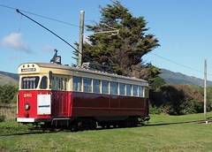 Tram at QE2 Park (Maurice Grout) Tags: wellington newzealand northisland qe2park kapiticoast kapiticoastelectrictramway wellingtontramwaymuseum