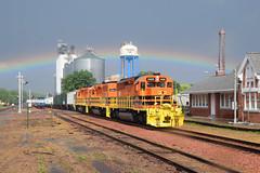Rainbows Skies on the RCP&E (wc_sd45_7500) Tags: storm light rcpe sd402 sd40 sleepy eye rainbow train trains dme railroad thunder clouds locomotive emd railroads