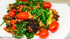 Fried corned beef with tomato and spinach (garydlum) Tags: beef cheese cooncheese cornedbeef cream spinachleaves tomatoes canberra australiancapitalterritory australia