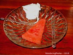 Watermelon slice - Gingki Restaurant Mandalay Myanmar (WanderingPJB) Tags: flickruploaded red myanmar burma mandalay slice watermelon plate gingkirestaurant
