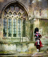 Lacock church (judy dean) Tags: judydean 2019 lacock church wedding bagpipes scot piper texture ps sliderssunday lr window