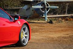 Ferrari 488 GTB with Old Aeroplane in the background (picturesofthingsilike) Tags: ferrari 488 gtb red turbo italy italian supercar v8