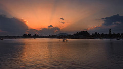 It was time for the oars to resign.... (Lopamudra !) Tags: lopamudra lopamudrabarman lopa landscape water waterscape jk india srinagar kashmir kasmir twilight sunlight sunset dusk evening nightfall pensive thoughtful dal lake loch placid tranquil silhouette silence boat boatman sail horizon colour color colours colourful cold philosophy life clouds cloud sky skyscape rays ray himalaya himalayas lightandshade light reflection reflexion peace beauty beautiful picturesque