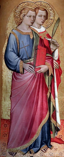 IMG_4101K Spinello Aretino (Spinello di Luca Spinelli)  connu à Arezzo 1350-1410 Saint Philip the Apostele and Grisante, St Daria and James the less  Apostle Saint Philippe l'Apôtre et Grisante, Sainte Daria et Jacques le Mineur  1380-1385 Galleria Nazion