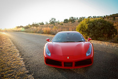 Ferrari 488 GTB front view at Sunrise (picturesofthingsilike) Tags: ferrari 488 gtb red turbo italy italian supercar v8