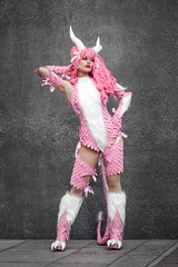 Pink Dragon original character cosplayer at ExCeL London's MCM Comic Con, May 2019 (Gordon.A) Tags: london docklands excel excellondonexhibitioncentre mcm moviecomicmedia comic con convention mcm2019 may 2019 festival event creative costume horns design style lifestyle culture subculture pink dragon original character cosplay cosplayer pretty lady woman people face model pose posed posing outdoor outdoors outside wall naturallight colour colours color colors amateur portrait portraiture photography digital canon eos 750d sigma sigma50100mmf18dc